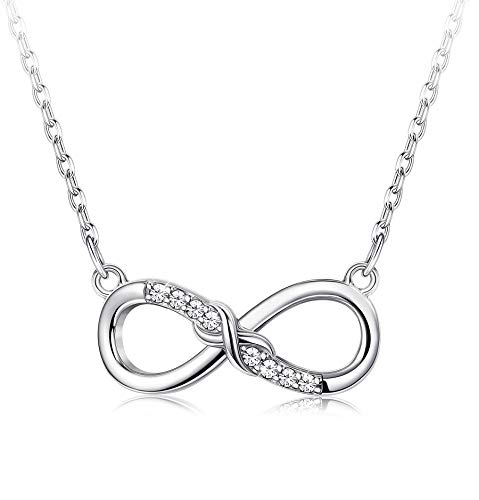 3ae8f2c856772 Sllaiss Infinity Necklace 925 Sterling Silver Pendant Necklace for Women  Sets with Swarovski Zirconia Eternal Love
