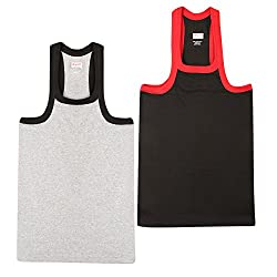 Wyatt Mens Cotton Gym Vest(1012_Grey-NAVY_M)