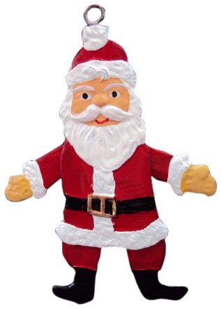 Zinngeschenke Hampelmann als Nikolaus aus Zinn (HxB) 7,5 x 4,5 cm beidseitig handbemalt. Der Hampelmann ist als Weihnachtsbaumanhänger und Christbaumschmuck zu verwenden.