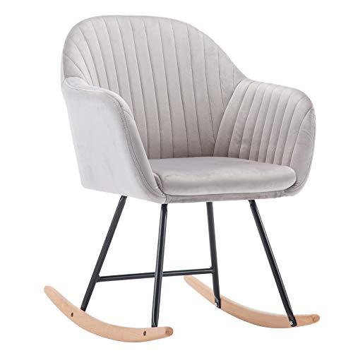 WOLTU Fauteuil à Bascule Assise en Lin/Velours Fauteuil Relax Chaise à Bascule Pieds en Bois d'acier,#1183
