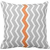 Gray and White Chevron Zigzag with Orange Stripe Pillow case 2424