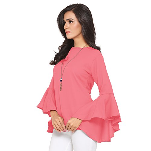 Serein Women's Top (Pink Soft Crepe Georgette top with Flute/Bell Sleeves) (Medium)