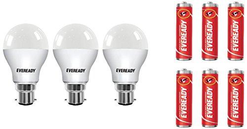 Eveready B22 Base 9-Watt LED Bulb (Pack of 3, Cool Day Light)...