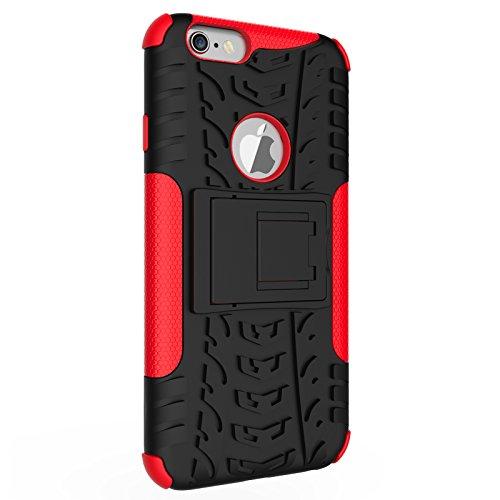 BCIT iPhone 6 6S Cover - Alta qualità Doppio Strato ibrido Cellulari Case Custodia protettivo Per iPhone 6 6S - Nero Rosso