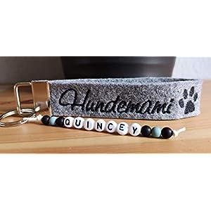 StoffJuLe -Schlüsselanhänger mit Namen bestickt Handmade/Hundenamen/Wunschtext/Hunde/Hundemama Hundepapa/I love my Dog…