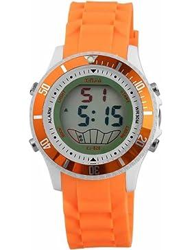Sportliche Digitaluhr mit Funktionen, Silikonarmband, Unisex im Orange, Wasserdicht bis 3 ATM, Durchmesser 40 mm