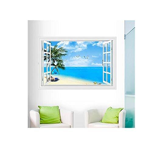 3D Aufkleber Große Blaue Himmel Und Strand Meer Palme Wandaufkleber Strand 3D Gefälschte Fensteransicht Entfernbare Wandtattoos Aufkleber Wohnkultur Poster