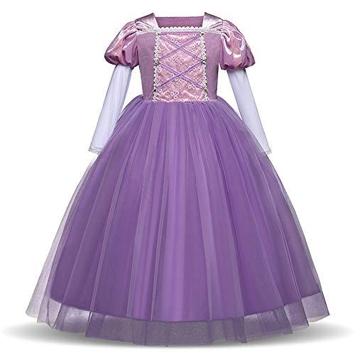 WEIHUIMEI Prinzessinnen-Kleid für Mädchen, Märchen-Kostüm, Party-Kostüm, Festzug, Cosplay, Weihnachten, Kleider, violett, 110 cm (Deluxe Märchen Kostüm)