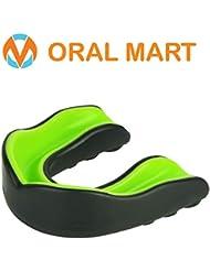 Oral Mart Sports - Protector bucal para niños - Protector bucal para jóvenes (Libre de BPA) para Karate, fútbol de Bandera, Artes Marciales, Rugby, Boxeo, MMA, Hockey (Negro/Verde)