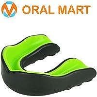 Oral Mart - Protector bucal Deportivo para Adultos - Protector bucal para Adultos para fútbol, Boxeo, Karate, Artes Marciales, Rugby, Artes Marciales Mixtas, Sparring, Hockey (Negro/Verde)