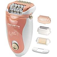 Rowenta Soft Sensation EP5720F0 - Depiladora, 2 velocidades, sistema anti dolor de 24 pinzas, cabezal exfoliante y afeitado, accesorio para zonas sensibles, cabezal de recorte zona del bikini