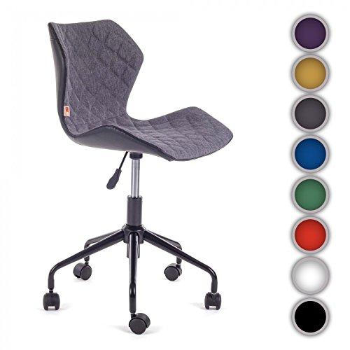 Rollhocker Arbeitshocker Drehstuhl Bürostuhl Arbeitsstuhl Drehocker höhenverstellbar Kunstleder gepolstert mit Lehne neu Design INO GrauSchwarz aus Kunstleder von MY SIT
