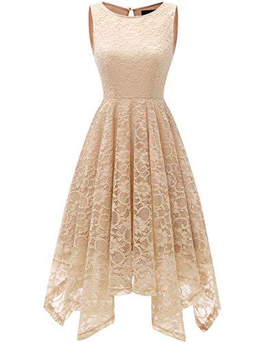 Dresstells Damen Elegant Kleid Ärmellos Taschentuch Saum unregelmäßig Spitzenkleid Festliche...