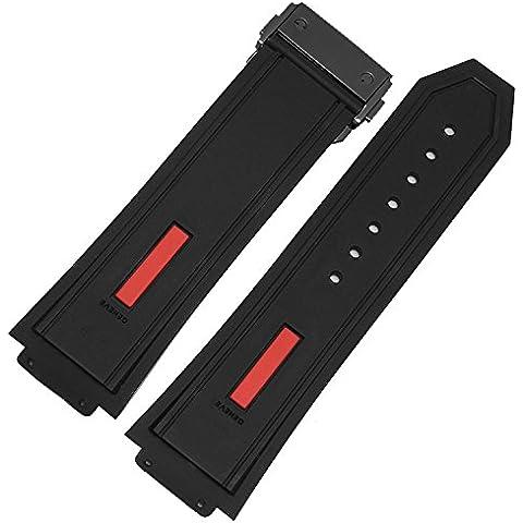 De repuesto 28mm negro rojo de goma correa para reloj negro cierre desplegable Hublot Big Bang