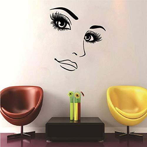 libby-nice Coiffure Beauté Fille Portrait Mur Art Stickers Femme Longs Cils Vinyle Autocollants Muraux Beauté Salon Maquillage Ongles Salon Art Décor 40 * 34Cm