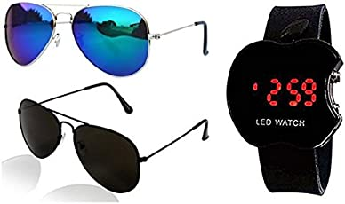 Sheomy Unisex's Black Dial Apple Shape Kids Watch With Classic Mirror Uv Protected Aviator Sunglasses (Black)