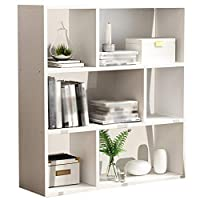GAOQQI-Sling Bookshelf Multi-layer Storage Small Desktop Student Strong And Stable Wooden Bookshelf Bedroom Kitchen Living Room (Color : White, Size : 60X24X96.8CM)
