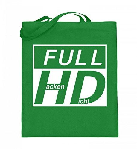 Hochwertiger Jutebeutel (mit langen Henkeln) - Full HD - Hacke Dicht Hellgrün