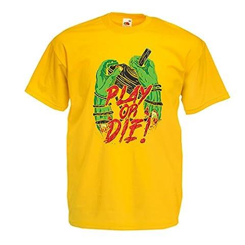 Männer T-Shirt Spielen oder sterben - nur für Spieler! (Large Gelb Mehrfarben)