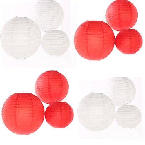 24 Stück, verschiedene Größen, Weiß/Rot, Lampenschirm aus Papier, für Hochzeiten, als Tafelaufsatz bei Geburtstag Party Dekoration für Haus und Garten