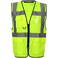 Executive Hi Viz Vis Vest High Visibility Zip Vests 2 Band Reflective Security Work Contractor Safety Mobile Phone Pocket ID Holder Workwear Waistcoat Jacket Top Size S-5XL