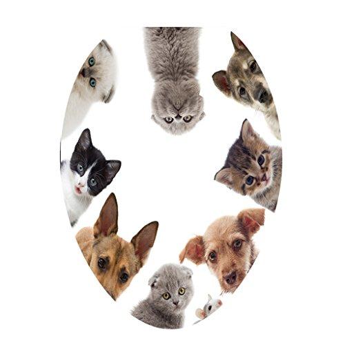 MagiDeal Kreative 3d Tattoo Sticker Aufkleber WC Sitz Toilette Klodeckel Toilettendeckel, Muster Auswählbar - Katze Hund