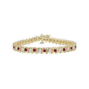 Ruby and Diamond Tennis Bracelet with 2.00 CT TGW on 18K Yellow Gold