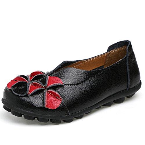 Nuove donne vera pelle fiori scarpe madre mocassini morbidi per il tempo libero appartamenti guida femminile calzature casual scarpa barca solido Black 8