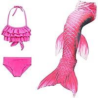 Niño 3PCS Niña Juego de Roles Traje de baño Cola de Sirena Traje de baño Bikini Traje de Natacion Ropa Pink-140cm
