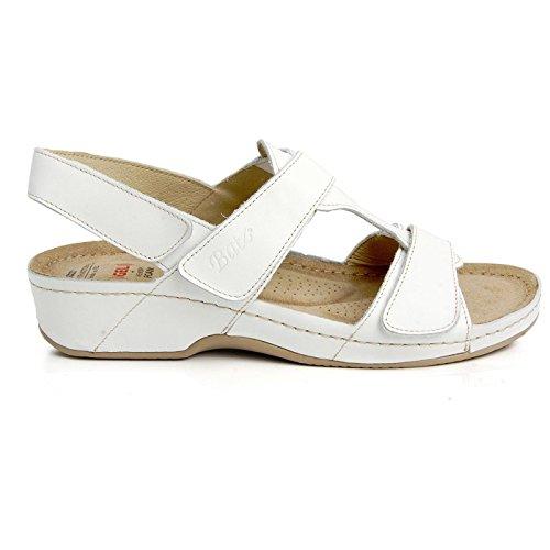 Batz INGRID Sandales Chaussure en Cuir de Qualité Supérieure Femme Eté Blanc