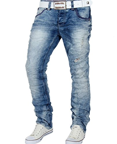 Red Bridge Herren Dishevelled Regular Fit Knit Jeans Denim Pants Blau W32 L32