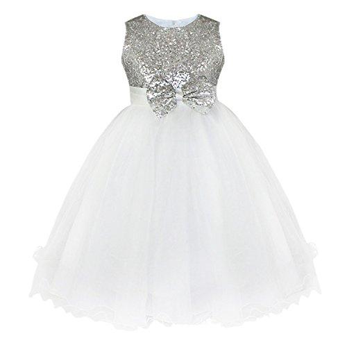 iiniim Mädchen Festliches Kleid Pinzessin Kleid Brautjungfernkleider mit Pailletten Hochzeit Party Festzug Abendkleid Gr.92-164 Silber 146-152