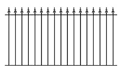 Gaelic Safety Spear Top Garden Fence Railing 1830mm (6ft) GAP x 950mm High Wrought Iron Metal fencing GA01