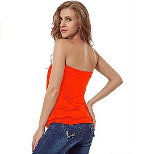 JOTHIN 2017 Damen Off shoulder T-shirt ärmellose Einfarbige Tops Madchen Reizvolle Sommerbluse Orange