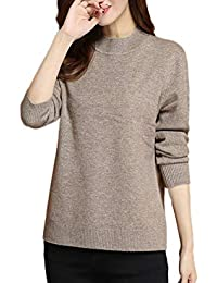 6fafec7659c3 Aswinfon Pull Femme Laine Maille Col Roulé Tricot Chandail Casual Manches  Longues Hiver Chaud Pullover Sweater