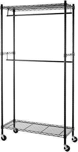 Amazonbasics - stand appendiabiti a doppia barra con rotelle - nero