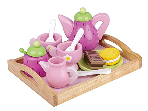 Kinder Kaffeeservice Teeservice für Spielküche aus Holz pink mit Tablett