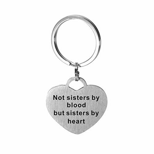 Llavero acero inoxidable forma corazón hermanas familia