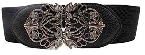 Vovotrade® Nueva moda de aleacion flor vintage Accesorios cinturon de cuero cinturones para mujer (Negro)