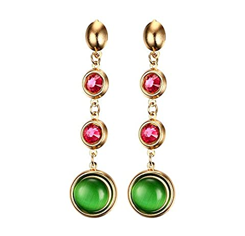 Stainless Steel Gold Plated Cymophanite & Red Rhinestone Long Drop Dangle Earring for Women - Oro Rosso Orecchini Vintage