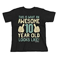Buzz Shirts 10th Birthday Gift - This is What an Awesome 10 Year Old Looks Like - Boys Girls Kids Black