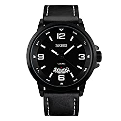 Skmei New Bold Design Analog Watch -9115 Black Genuine Leather