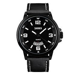 Skmei New Bold Design Analog Watch -9115 Black Genuine Leather