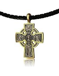 7304f774e860 EVBEA Collar Cruz Hombre Colgante Cuero Cadena Bizantina Collar Crucifijo  con Jesús Cruz Moderno para Colgante