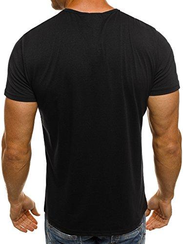 OZONEE Herren T-Shirt mit Motiv Kurzarm Rundhals Figurbetont J.STYLE SS163 Schwarz