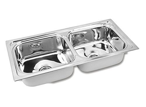 esjay Kitchen Sink, Double Bowl Stainless Steel Sink, Size 45 X 20 X 9 inches