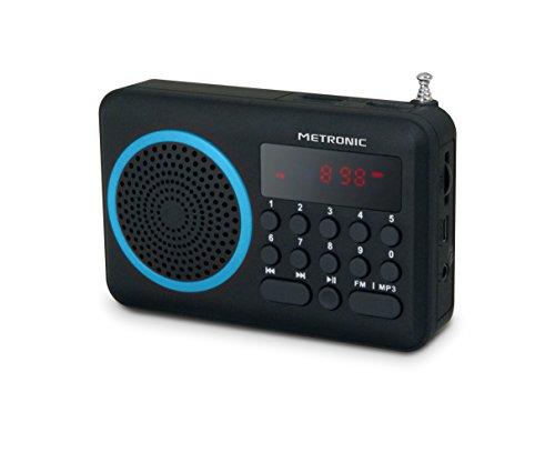 Metronic 477203 Radio Portable FM Compact avec Port USB + Lecteur Carte Micro SD - Noir et Bleu