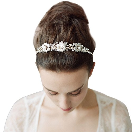 Tininna Vintage-Haarreif, elegant, Brautschmuck mit Blumen und Strass
