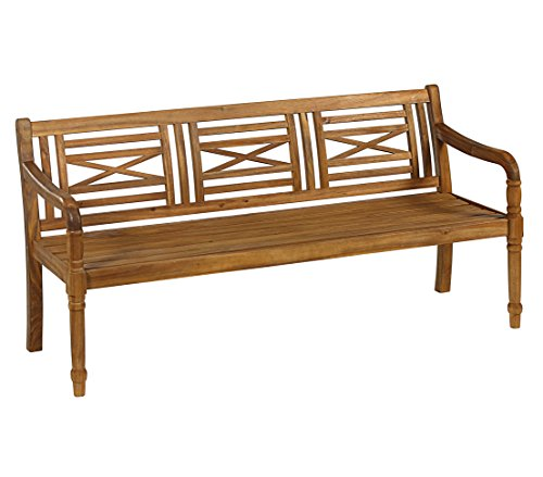 Dehner Gartenbank Canterbury, 4-Sitzer, ca. 174 x 60 x 90 cm, FSC Akazienholz, geölt, natur