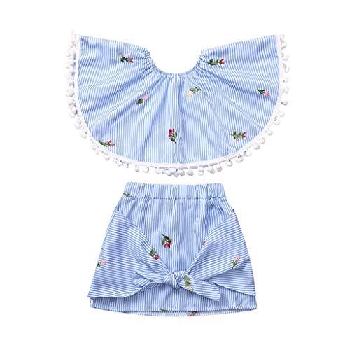 Livoral Mädchen Kinder trägerlosen Set Kleinkind Baby Floral gestreiften Top + Bow Rock (Frankreich Girl Kostüm)